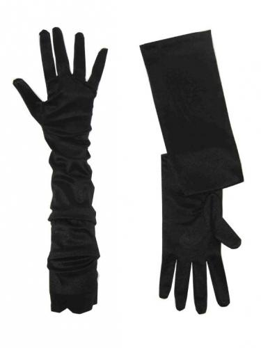Zwarte handschoenen 52 cm lang