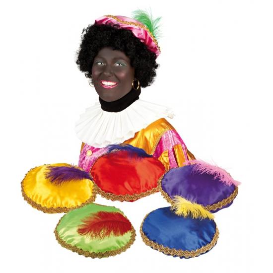 Zwarte Piet baret blauw voor volwassenen
