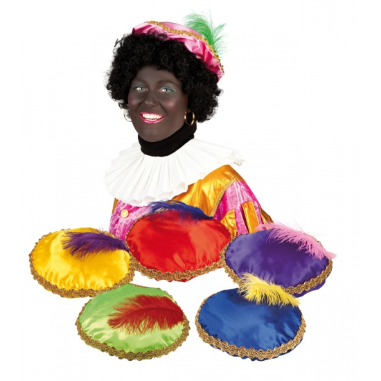 Zwarte Piet baret geel voor volwassenen