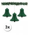 3 groene kerstklokken van papier 50 cm