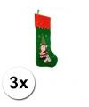 3 groene mega kerstsokken 85 cm