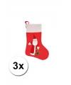 3 kerstsokken met kerstman