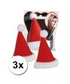3x mini kerstmuts op clip voor dames