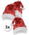 3x pailletten glitter kerstmuts rood