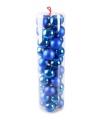 40 blauwe kerstballen van plastic