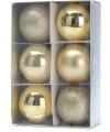 6 gouden kerstballen 8 cm