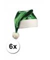 6 groene glimmende kerstmutsen