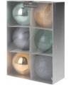 6 kerstballen groen grijs goud