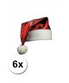 6 rode glimmende kerstmutsen