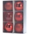 6 rode kerstballen 8 cm