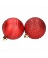 6 rode kerstballen glitter en mat