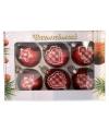 6 rode kerstballen met stoffen opdruk 5 cm
