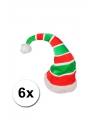 6 rood met groene kerstmutsen