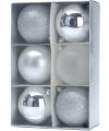 6 zilveren kerstballen 8 cm