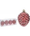 Dennenappel kerstbal rood 4 stuks