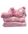 Fleece deken roze met knuffel beer 75 x 75 cm