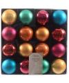 Gekleurde kerstballen mix 16 stuks