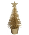 Glitter mini kerstboompje goud