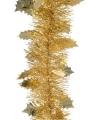 Gouden folie slinger met blad 270 cm
