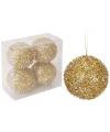 Gouden glitterbol kerstballen 4 stuks