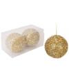 Gouden glitterbol kerstballen 8 cm