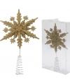 Gouden kerstboom piek sneeuwvlok