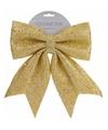 Gouden strik kerstboompiek met glitters 34 cm