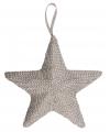 Grijze kerstboom hanger ster 32 cm