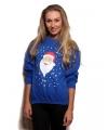 Grote maten blauwe kersttrui met kerstman