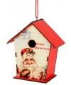 Hangdecoratie kerst vogelhuisje 10 cm