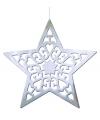 Hangdecoratie kerstster zilver 50 cm