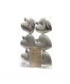 Hartjes kerstballen hangers zilver