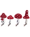 Herfst decoratie paddenstoelen clips 4 stuks