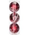 Kerst 3 rode kerstballen met print 15 cm
