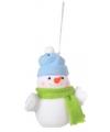 Kerst decoratie sneeuwpop 8 cm blauwe muts