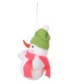 Kerst decoratie sneeuwpop 8 cm groene muts