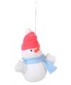 Kerst decoratie sneeuwpop 8 cm rode muts