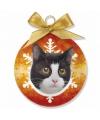 Kerst dieren kerstbal kat zwart wit 8 cm