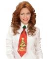 Kerst glitter stropdas kerstboom met belletje