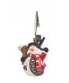 Kerst kaarthouder sneeuwpop 11 cm type 1