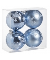 Kerst kerstballen ijsblauw 8 cm