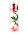 Kerst kerstballen met sneeuwpop 15 cm