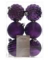 Kerst kerstballen mix paars 6 stuks