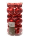 Kerst kerstballen mix rood 36 stuks