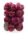 Kerst kerstballen mix roze 30 stuks