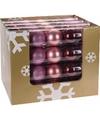 Kerst kerstballen mix roze bordeaux 5 stuks