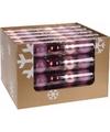 Kerst kerstballen mix roze bordeaux 6 stuks
