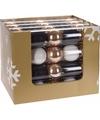 Kerst kerstballen mix wit goud 5 stuks