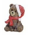 Kerst kerstbeertje zittend beeldje 12 cm
