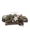 Kerst kerststuk met glazen waxinelichthouder